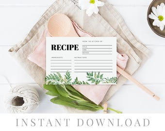 Recipe cards printable, INSTANT DOWNLOAD, Printable Recipe Card, Bridal Shower Recipe Card, DIY Recipe Cards Rustic Recipe Cards - Fern