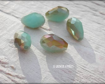 Pearls drops 12 x 8 mm Turquoise Opal AB X 5