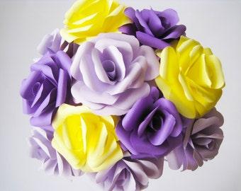 12 Paper Roses, Yellow Paper Flowers, Purple Stem Flowers, Paper Flowers Centerpiece , Paper Wedding Decor, Table Centerpiece, Purple Roses