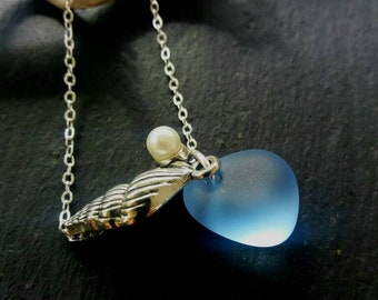 Light Blue Sea Glass Necklace Beach Glass Jewelry Necklace Sea Glass Jewelry Beach Wedding Jewelry Bridesmaid Necklace Sea Glass Pedant