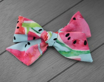 Watermelon hand tied bow