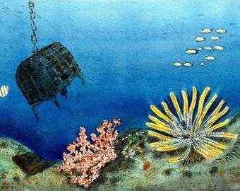 Under Sea Treasure giclee print, 140 lb watercolor paper