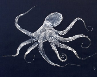 GYOTAKU fish Rubbing Octopus 8.5 X 11 Fisherman Gift quality Salt Water Art Print by artist Barry Singer