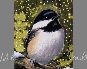 Chickadee Bird Miniature Art by Melody Lea Lamb ACEO Print