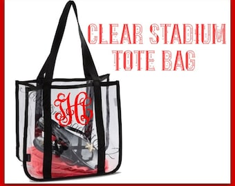 Clear Stadium Tote Bags - Football Clear Tote Bag - Monogrammed Clear tote - Concert Clear bag