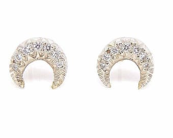 Art Deco Style 14K White Gold and Diamond Celestial Crescent Moon Earrings