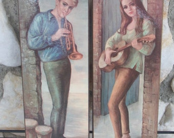 Vintage Medeiros Wall Hangings Boy with Trumpet Girl with Guitar 60's Art
