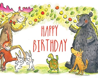Happy Birthday Card | Greeting Card | Party Animals | Kids