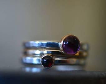 Red Garnet Ring, Purple Amethyst Ring, Natural Gemstone Stacking Ring Set, Sterling Silver Ring, 14K Gold Filled Stack Ring, Stacker Jewelry