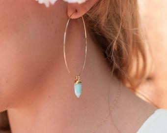 Aventurine Earrings * Handmade * Gemstone * Hoops * Large  * Gold Filled* Bohemian * Boho * Gift