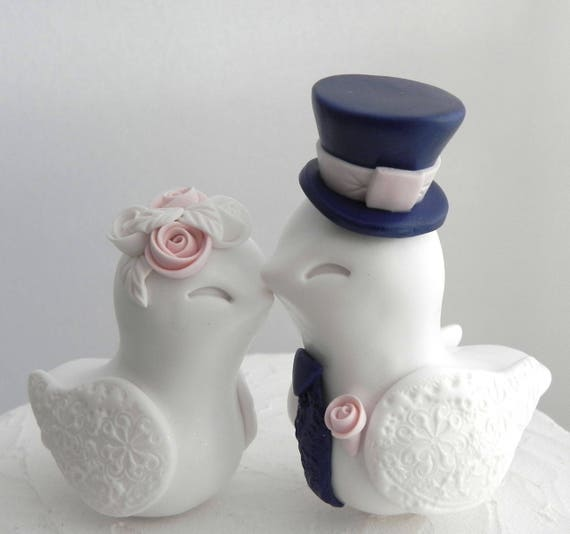 Love Birds Wedding Cake Topper, White, Dusty Pink and Navy Blue, Bride and Groom Keepsake, Fully Customizable