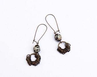 Jasper earrings earrings, Dalmatian jasper earrings, Natural stones earrings, Brass Earrings, Christmas gift ideas