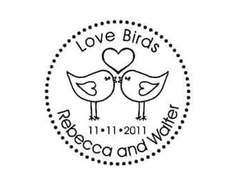 Custom Rubber Stamp lovebirds love birds