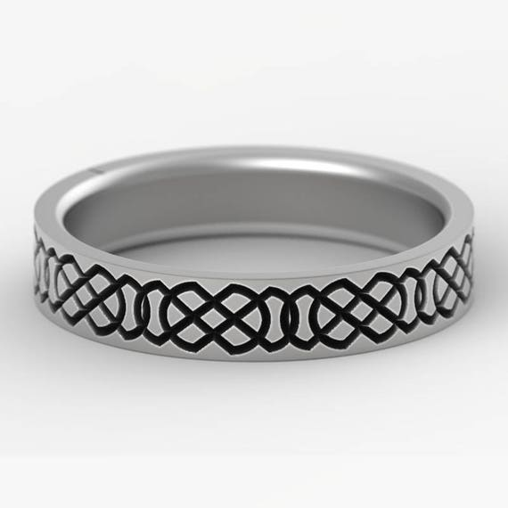Celtic Wedding Ring With Engraved Woven Knotwork Design in Sterling Silver, Made in Your Size CR-749
