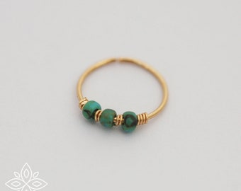 Helix earring, SOLID GOLD, Hex hoop, Cartilage ring, Tragus piercing, Turquoise piercing,Turquoise nose ring, 24/22/20 gauge Extra Thin hoop