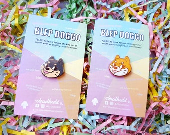 Blep Doggo - Hard Enamel pin by Cloudhedd - Rose Gold or Black Nickel metal - Cute Shiba Inu Meme dog head with tongue sticking out