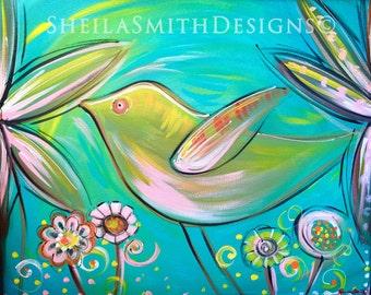 Bird Acrylic Painting, Girl Decor, Nursery art, flower art, hand painted
