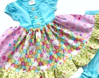 Girls Easter dress bunny Spring portrait dress toddler blue pink easter egg colorful rabbit dress ruffle unique Momi boutique custom dress