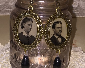 Victorian Gem Tin Type Photo Earrings with Edwardian Era Black Glass Drops
