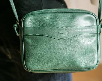 Longchamp Crossbody | 80s Green Longchamp Crossbody | Small Square Crossbody | Small Leather Crossbody | Zippered Crossbody | Longchamp Bag