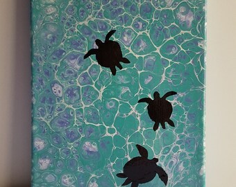 Turtle Trio 8x10 Original Acrylic Pour Painting Wall Art