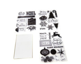 Clear rubber stamp set