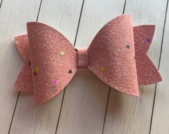 Stars and Pink Fine Glitter Hair Bow