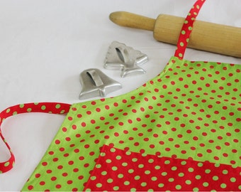 Christmas Dots Child Apron - Green