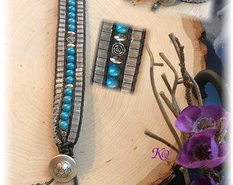 Cuff Leather & Bead Bracelet