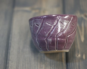 Small Prep Bowl - Plum Carved Design - Abstract Bamboo Pattern - Rustic Purple Kitchenware - Gourmet Cooking - Hand Made Gift
