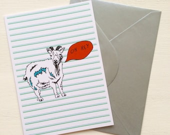 Goat Oh Hey - Speech Bubble - Goat Greeting Card