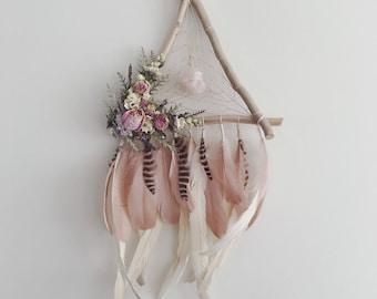Feather Dreamcatcher   Triangle Dreamcatcher   Wallhanging   Floral Dreamcatcher   Boho Dream Catcher   Bohemian   Dream catcher Blush Pink