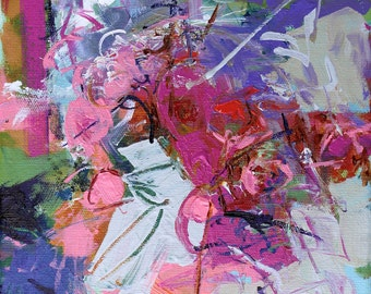 "ABSTRACT PAINTING ""Bestie"" Acrylic on 8"" x 8"" canvas ORIGINAL Art Direct from the studio by Elizabeth Chapman"