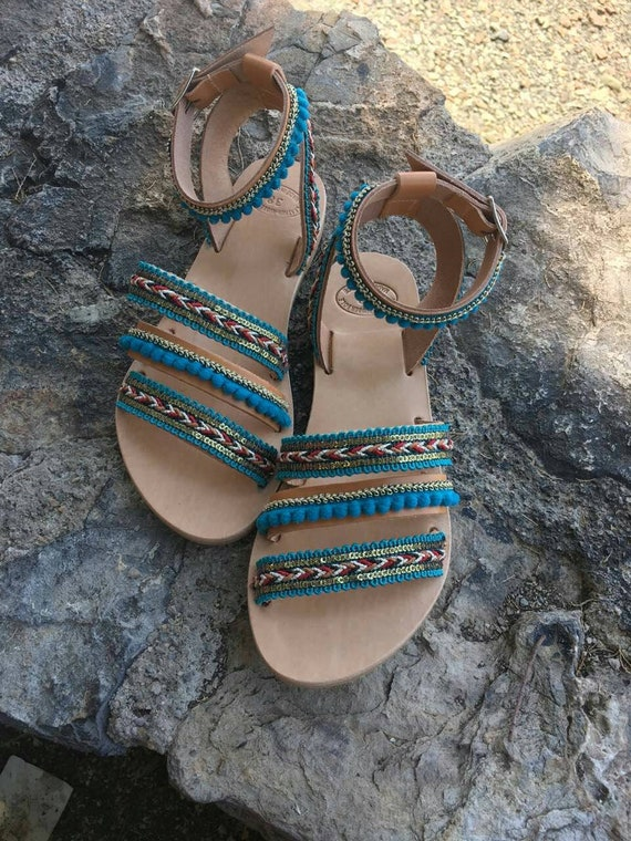 Gladiator Summer Sandals Embellished Greek Green Handmade Sandals Boho Boho Genuine Sandals Sandals Sandals Sandals Sandals Leather q6wg78xS