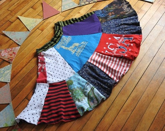 Upcycled Tshirt Patchwork Skirt