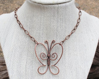 Butterfly Necklace. Copper Butterfly. Wire Wrapped. Copper. Oxidized. Wire Jewelry