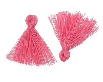 Set of 2 PomPoms pink cotton and polyester