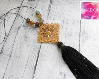 Tassel necklace, agate necklace, bohemian necklace, gemstone necklace, filigree necklace, black tassel, statement necklace, gold, for her