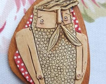 Wooden and ceramic, retro inspired beardy pin brooch