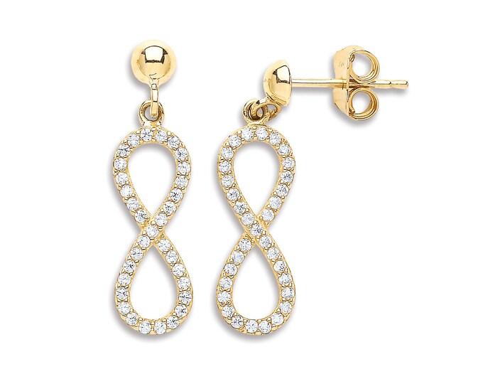 9ct Yellow Cz Gold Infinity 2cm Drop Earrings