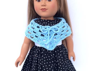 18 Inch Doll Clothes, Blue Poncho, Light Blue Hand Crocheted, Summer Doll Clothes