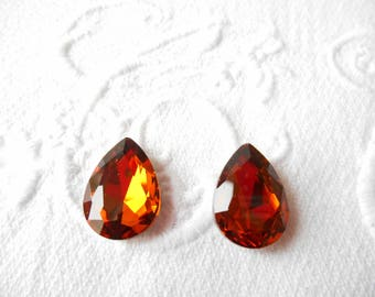 Two cabochons 18 x 13 mm to support light Topaz faceted crystal drop.
