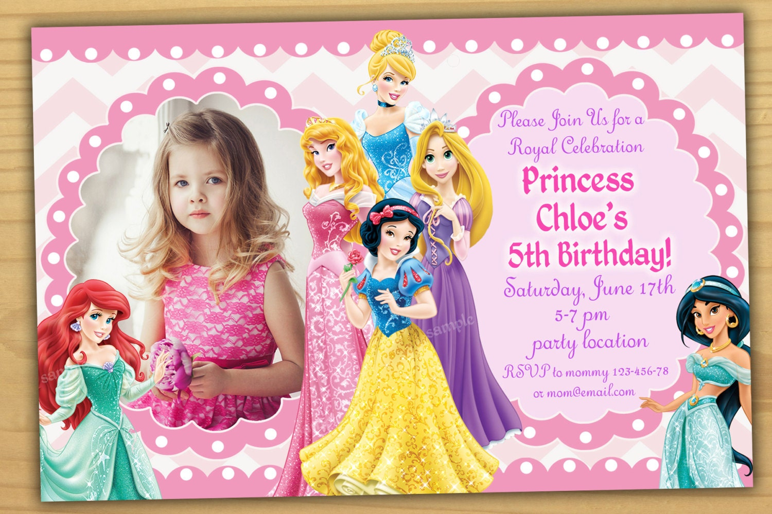 Sale Disney Princess Birthday Invitation Disney Princess