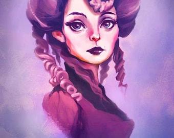 Portrait of a Lady Art Illustration Print
