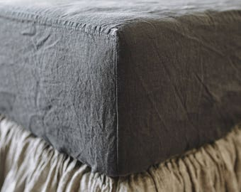 Linen FITTED SHEET in a Charcoal gray color, Queen, King fitted sheet - Linen bedding by Lenoklinen stonewashed and soft. Gray linen sheet