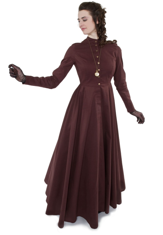 Steampunk Dresses | Women & Girl Costumes Victorian Style Cotton Dress $120.00 AT vintagedancer.com
