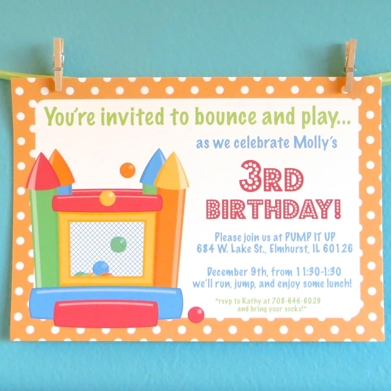 Bouncy house invitations kids birthday party invitation