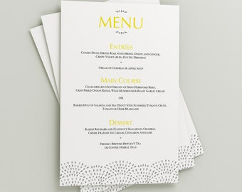 Printable Wedding Menu Download 'Fountain' // DIY TEMPLATE// Word Mac or PC // 5 x 7 // Change artwork colour // Luxury Design
