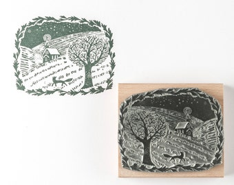 Winter Walk Rubber Stamp - christmas rubber stamp - landscape stamp - christmas stamp - christmas card - fox stamp - craft stamp