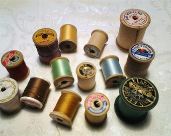 Vintage Wooden Thread Spools, 14 spools, FREE SHIPPING!  Belding Corticelli, Clarks, Lily, Talon & more